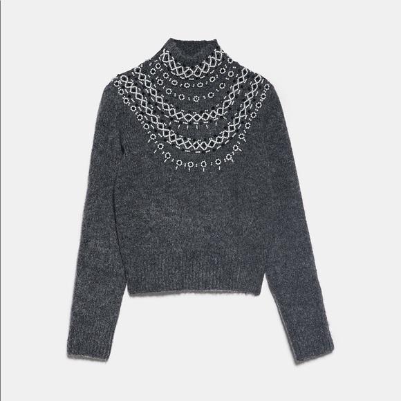 Beaded knit sweater